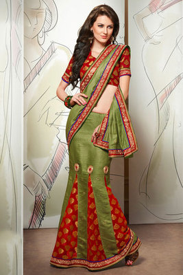 Beautiful Zari Patch and Resham Embroidery Worked Pashmina Saree