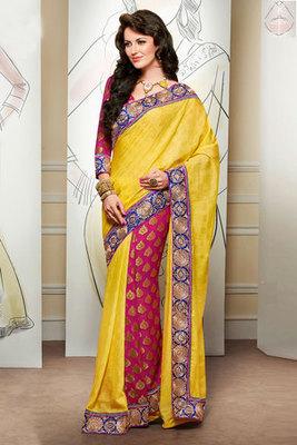 Yellow and Pink Zari and Resham Embroidery worked Viscose Saree