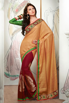 Cream and Maroon Zari and Patch worked Saree Made of Pashmina and Jacquard Fabric