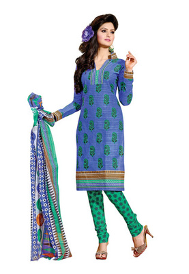 CottonBazaar Blue & Sea Green Colored Cotton Unstitched Salwar Kameez