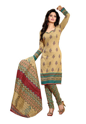CottonBazaar Cream Colored Cotton Unstitched Salwar Kameez