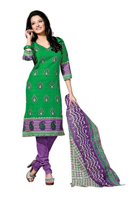 CottonBazaar Green & Violet Colored Cotton Unstitched Salwar Kameez