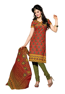 CottonBazaar Brown & Olive Green Colored Cotton Unstitched Salwar Kameez