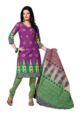 CottonBazaar Purple & Green Colored Cotton Unstitched Salwar Kameez