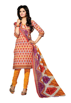 CottonBazaar Orange Colored Cotton Unstitched Salwar Kameez