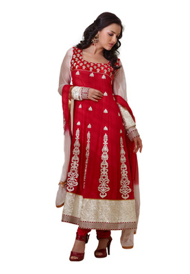 Fabdeal Red & White Colored Pure Georgette Embroidered Semi-Stitched Salwar Kameez