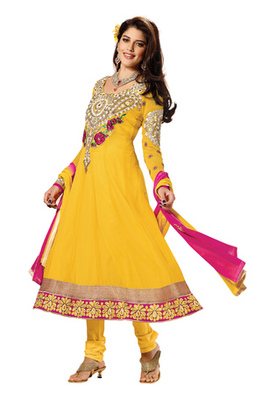 Fabdeal Yellow Colored Faux Georgette Embroidered Semi-Stitched Salwar Kameez