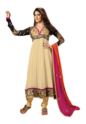 Fabdeal Cream  Colored Faux Georgette Embroidered Semi-Stitched Salwar Kameez