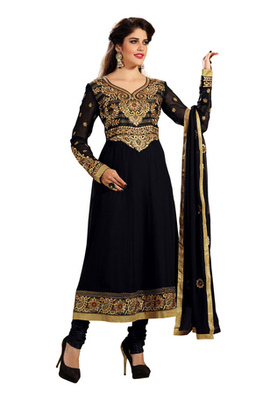 Fabdeal Black Colored Faux Georgette Embroidered Semi-Stitched Salwar Kameez