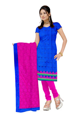 Fabdeal Blue Colored Banarasi Silk Printed Un-Stitched Salwar Kameez
