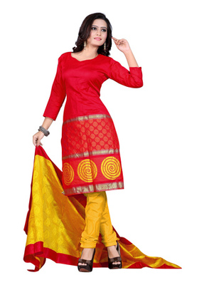 Fabdeal Red Colored Banarasi Silk Printed Un-Stitched Salwar Kameez