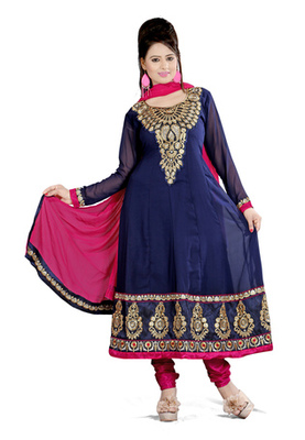 Fabdeal Navy Blue Colored Georgette Embroidered Semi-Stitched Salwar Kameez