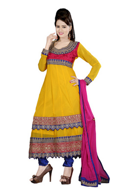 Fabdeal Yellow Colored Pure Georgette Embroidered Semi-Stitched Salwar Kameez