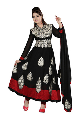 Fabdeal Black Colored Pure Georgette Embroidered Semi-Stitched Salwar Kameez