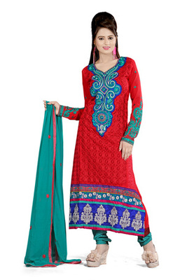Fabdeal Maroon Colored Pure Georgette Embroidered Semi-Stitched Salwar Kameez