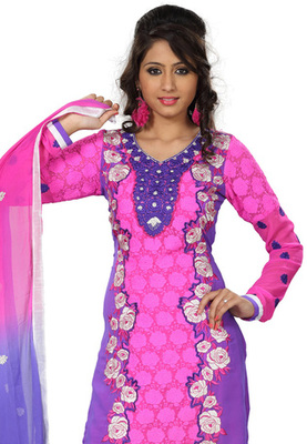 Fabdeal Pink Colored Georgette Embroidered Semi-Stitched Salwar Kameez