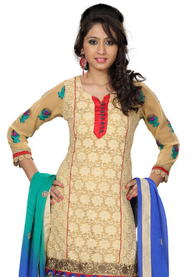 Fabdeal Cream Colored Georgette Embroidered Semi-Stitched Salwar Kameez
