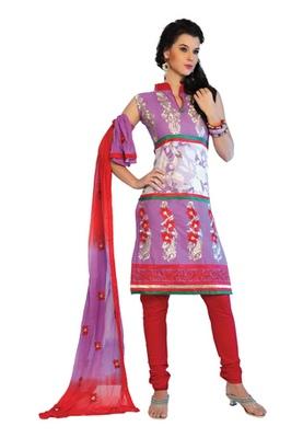 Fabdeal Lavender Colored Cotton Embroidered Un-Stitched Salwar Kameez