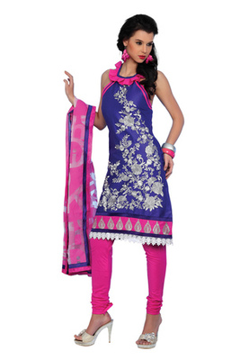 Fabdeal Blue Colored Cotton Embroidered Un-Stitched Salwar Kameez