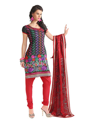 Fabdeal Black Colored Chanderi Silk Embroidered Un-Stitched Salwar Kameez
