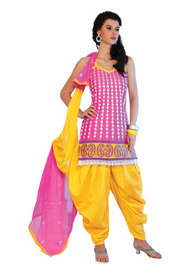 Fabdeal Pink Colored Cotton Embroidered Un-Stitched Salwar Kameez