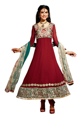 Fabdeal Maroon Colored Viscose Embroidered Semi-Stitched Salwar Kameez