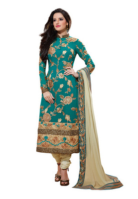 Fabdeal Blue Colored Viscose Embroidered Semi-Stitched Salwar Kameez
