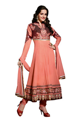 Fabdeal Salmon Colored Viscose Embroidered Semi-Stitched Salwar Kameez