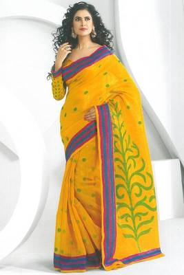 Amber Yellow Dupion Silk Printed Casual and Party Saree