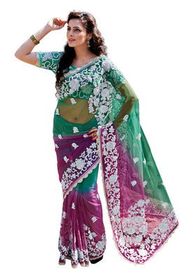 Fabdeal Green  Colored Net Embroidered Saree