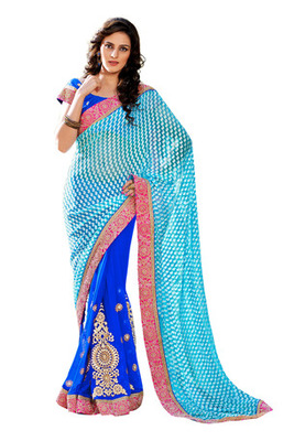 Fabdeal Sky Blue  Colored Brasso Embroidered Saree