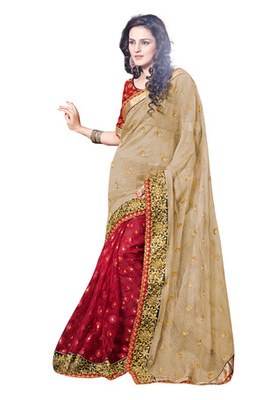 Fabdeal Beige Colored Super Net Embroidered Saree