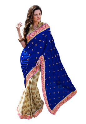 Fabdeal Blue  Colored Satin Embroidered Saree