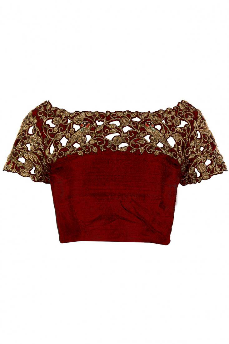 Buy Red Raw Silk Embroidered Unstitched Blouse Fabric Online
