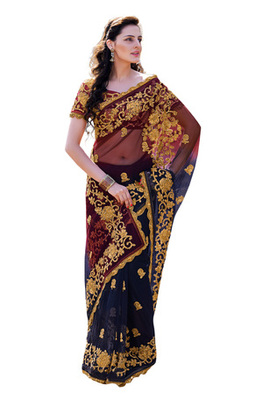 Fabdeal Navy Blue  Colored Net Embroidered Saree