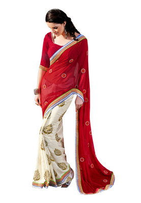 Fabdeal Red  Colored Georgette Embroidered Saree
