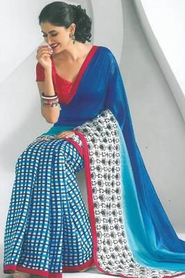 Blue and Off-white Dupion Silk Printed Casual and Party Saree