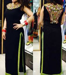 Buy Black embroidered georgette stitched kurti plus-size-kurti online