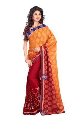 Fabdeal Orange Colored Pure Jacquard Embroidered Saree