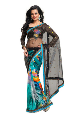 Fabdeal Black Colored Net Embroidered Saree