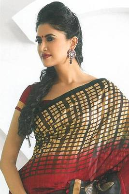 Cardinal Red and Black Dupion Silk Printed Casual and Party Saree