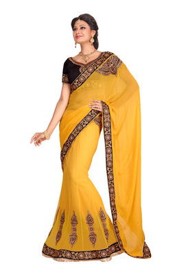Fabdeal Yellow Colored Bemberg Embroidered Lehenga Saree