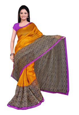 Fabdeal Gold Colored Super Net Printed Saree
