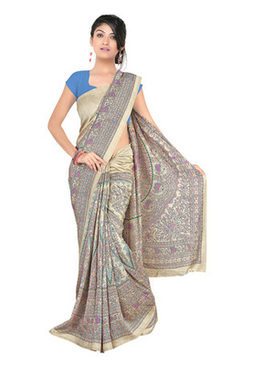 Fabdeal Beige Colored Pashmina Silk Printed Saree