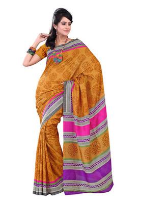 Fabdeal Yellow Colored Raw Silk Printed Saree
