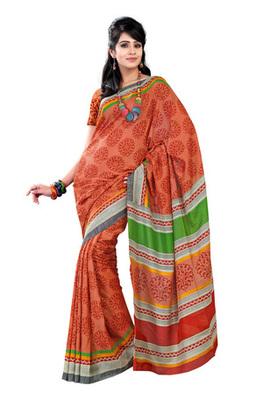 Fabdeal Orange Colored Raw Silk Printed Saree