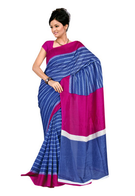 Fabdeal Blue Colored Raw Silk Printed Saree