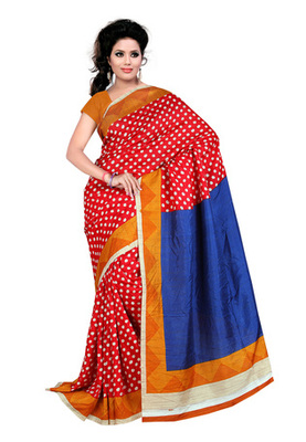 Fabdeal Red Colored Raw Silk Printed Saree