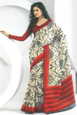 Cream Yellow and Red Dupion Silk Printed Casual and Party Saree
