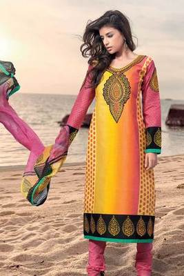 Yellow Pure Cotton Salwar Suit Embellished With Embroidery Work